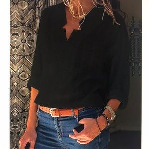 Tops - V-Neck Long Sleeve Casual Shirt